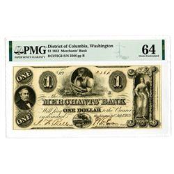 Merchants' Bank, 1852 Issued Obsolete Banknote.