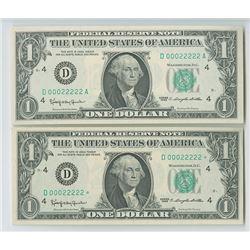 U.S. FRN, $1, Series 1963 Fancy Matching Serial Numbers.