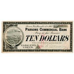 Parsons Commercial Bank, 1907 Cashier's Check Panic Currency.