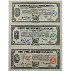 MI. City of Hamtramck, 1933, Series A, Depression Scrip Trio, All with Low Serial Number 3.