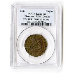 1787 Fugio Cents 1C Genuine Planchet MS Unc Details UNITED STATES, 4 Cinq PCGS