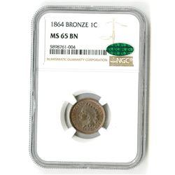 1864 Bronze 1C MS 65 BN CAC NGC