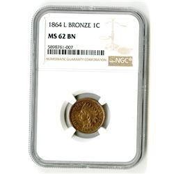 1864 L Bronze 1C MS 62 BN NGC