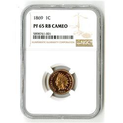 1869 1C PR 65 RB Cameo NGC