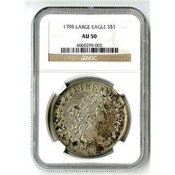 1798 Large Eagle $1 MS AU 50 NGC
