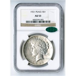 1921 Peace  High Relief  $1 MS AU53 CAC NGC