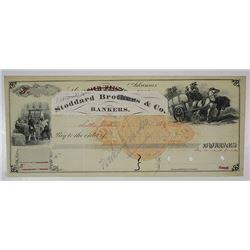 "First National Bank Specimen Check, ca.1870's Used as a model for ""Stoddard Brothers"" Bankers."