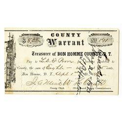 Bon Homme County, Dakota Territory. 1867  I/C Warrant.