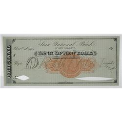 State National Bank of New Orleans - Bank of New York, Specimen Draft, 187x, with Imprinted U.S.I.R.