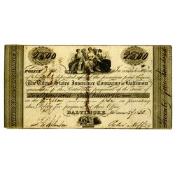 United States Insurance Co. of Baltimore. 1833. Certificate of Deposit - Obsolete Look-a-like Note.