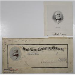 Hugh Nawn Contracting Co., 1905 Mockup Check with Hand drawn title and Pasted Portrait with Engraved