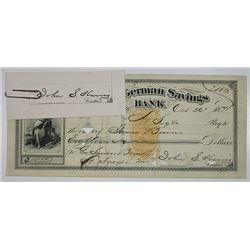 Union German Savings Bank, 1871  Revenue Imprinted Check with Proof of Cashier's signature by ABNC.