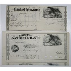 Bank of Syracuse Remainder Check & Syracuse National Bank Proof Check ca.1850's to 1860's.