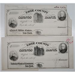 Erie County Savings Bank, 1890's Proof Draft with Mockup Draft.