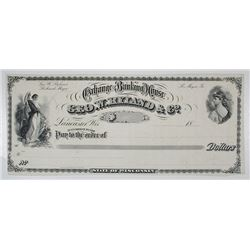 Geo. W. Ryland & Co., Exchange and Banking House, ca.1880's Proof Check.