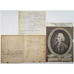 William Bowyer Signed Manuscript Letter and Engraved Print, ca. 1740-60.