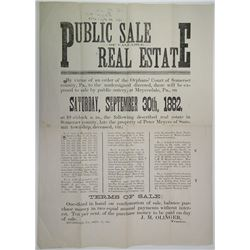 Public Sale of Valuable Real Estate 1882 Advertisement Broad Side.