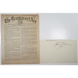 """The Transport Ace"" 1919 Newspaper Printed at Sea with Autograph of John J. Pershing"