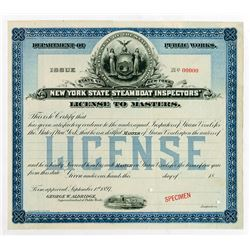 New York Steamboat License 1897 Specimen Certificate