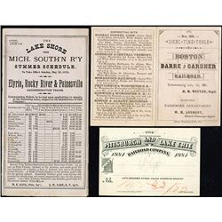 Various US Railroad Company Brochures & Specimen 1884 Railroad Pass. 1878-1884. Ephemera Trio.