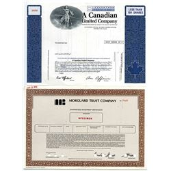 Canadian Bank Note Co., ca.1970's Pair of Specimen/Sample Stock Certificates.