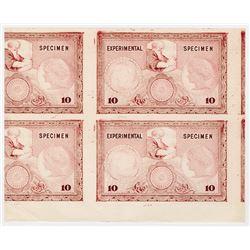 Specimen - Experimental 10 Denomination Proof Advertising Note Pair, ca.1920-40's.