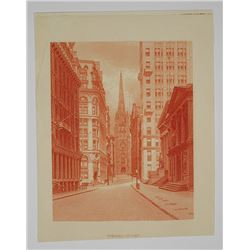 ABNC Proof Vignette of View of Trinity Church From Wall Street ca.1880's.