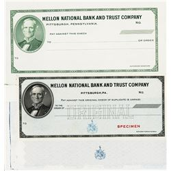 Mellon National Bank & Trust Co., ca.1910-30 Specimen Check Progress Proofs & Specimen trio.