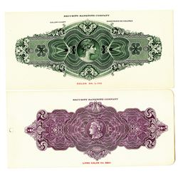 Security Bank Note Company ca. 1910-30 Color Sample Page Pair.
