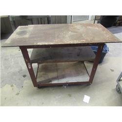 "Steel Workshop Table on Castors 33""H 48""W 24""D"