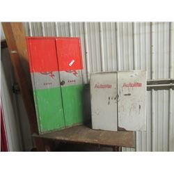 """2 Metal Shop Ignition Cabinets 1) 48""""H 26""""W 9""""to 7""""D 1) 26""""H x 26"""" Wx12""""D"""