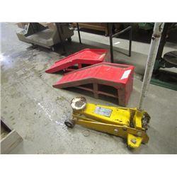 Floor Jack Approx 2-3 Ton & Set Of Car Ramps