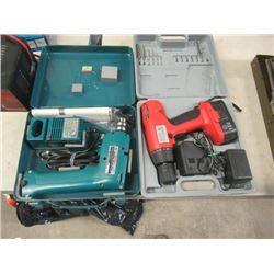2 Items - New Makita 9.6 Drill , & Like New 18 Volt Cordless Drill - Both w Case