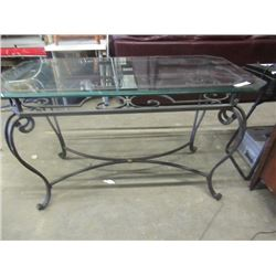 """(DL) Wrought Iron & Glass Table/Stand 31""""H 52""""L 28"""" D"""