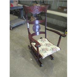 (DL) Gliding Rockwer w Cherry Finish Press Back w Wind, Tapestry Seat - Beautiful Chair