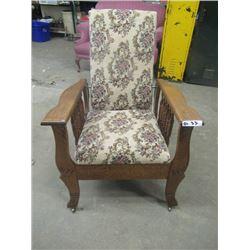 (DL) Oak Mission Chair- Nice Condition- Missing Original Adjusting Rod