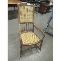(DL) Vintage Rocking Chair- Cane Seat