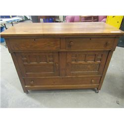 """(DL) Vintage1/4 Cut Oak Buffet - Nice Size 36""""H 46""""W 21""""D - 2 Missing Drawer Pulls Are In Drawer"""