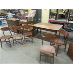 """(DL) Teak DR Suite, Buffet 30""""H 72""""W 18""""D Table & 5 Chairs- 35"""" x 53"""" Plus Pull Out Leaves 2 x 18"""" ,"""