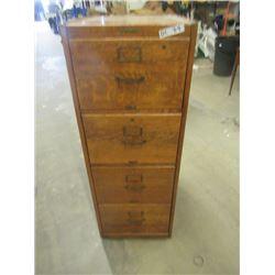 """(DL)Vintage 1/4 Cut Oak 4 D Filing Cabinet 53""""H 19.5""""W 26.5""""D"""