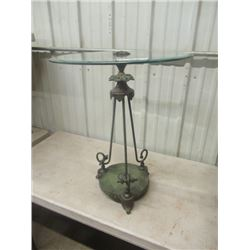 """(DL) Fancy Wrought Iron & Glass Stand 24""""H 20""""RD"""