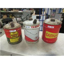 3 Items - 5 Gal Texaco Oil Can , Farmer's Union Can & Gas Ca - Vintage