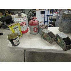 7 Items - Texaco Can, Peerless, Gas Cans, Metal Organizer