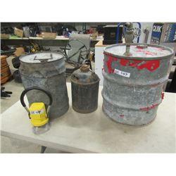 4 Items - 2 CNR Kerosene Pails, CNR Lantern, & Barrel