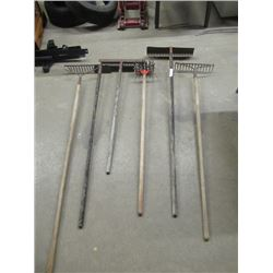 6 Items - Rakes, Hoe, Garden Weasel, 1/2 Handles are weathered, 1/2 are good & Scythe