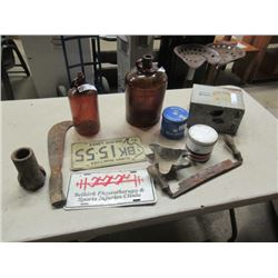 Tobacco Cans, License Plate, Drill Bits, & Draw Knife- Vintage
