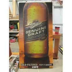 """Light UP Miller Beer Sign  (One Crack) 40""""H 20""""W- Works"""