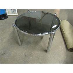 "Chrome & Glass Coffee Table 31""H 21""RD"