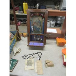 Religious Prayer Alter w Rosary & Communion Plate Pamphlet Dated 1909- Vintage
