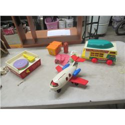 FIsher Price Family Toy Camper,  Fisher Price Airplane, Fisher Price Picnic Basket, Fisher Price Rec